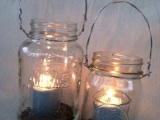 A visit to Pottery Barn inspires a new project: Hanging Mason Jars